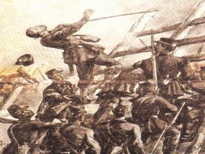 Lukisan yang menggambarkan tentara Belanda menyerang Masjid Raya di Kutaraja pada Januari 1874.